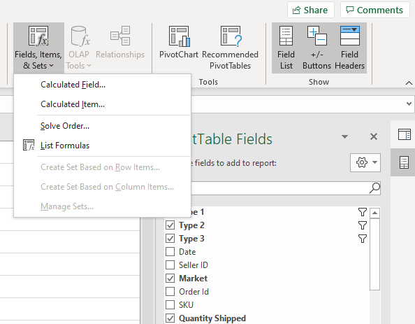create calculated fields in Excel