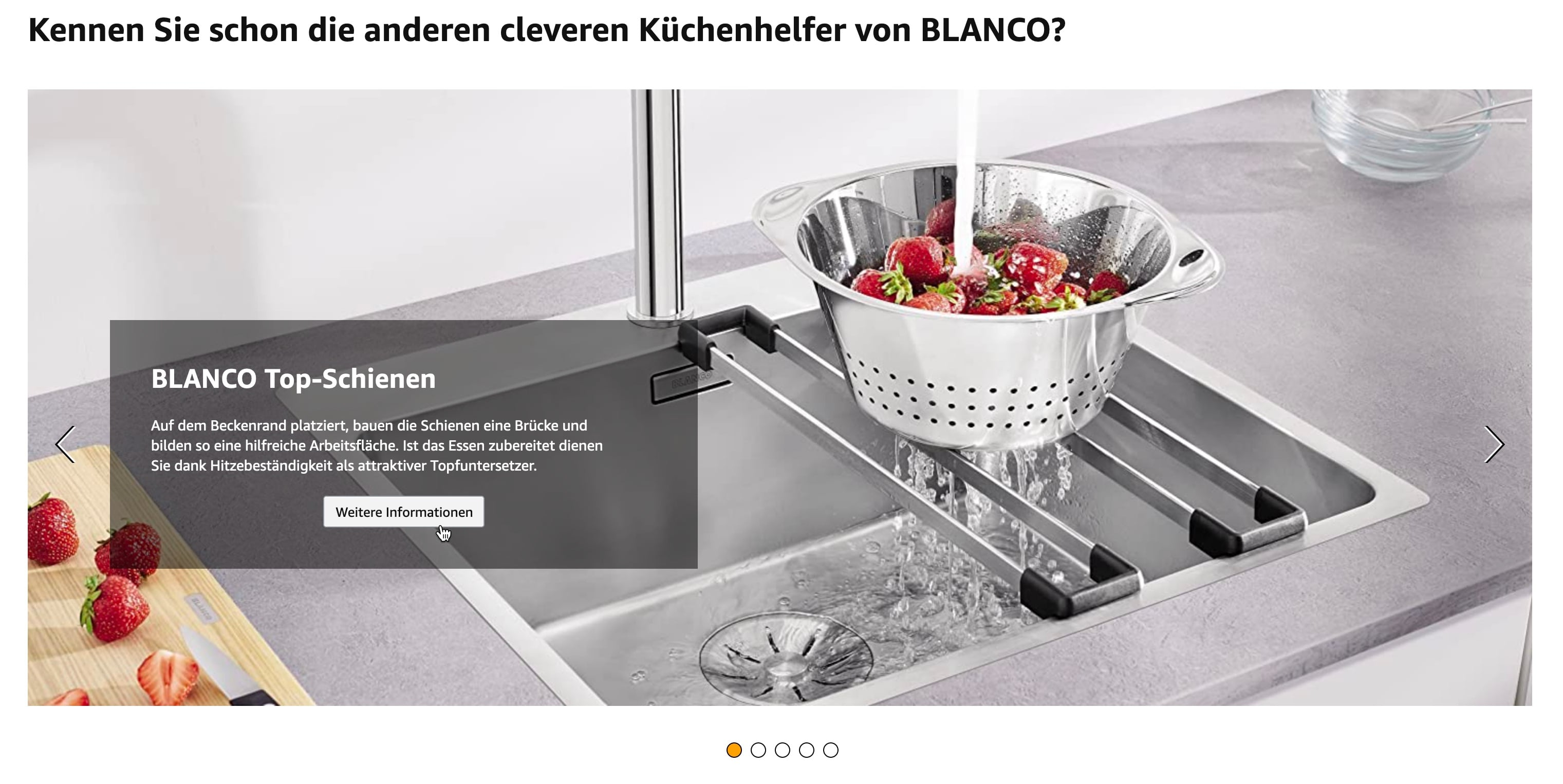 Amazon A+ Premium Content Element Slider mit Cross-Selling-Produkten